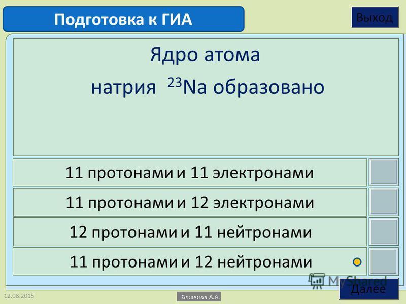12.08.2015 Ядро атома натрия 23 Na образовано 11 протонами и 11 электронами 11 протонами и 12 электронами 12 протонами и 11 нейтронами 11 протонами и 12 нейтронами Подготовка к ГИА