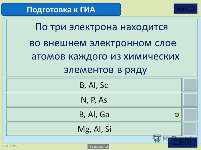12.08.2015 По три электрона находится во внешнем электронном слое атомов каждого из химических элементов в ряду B, Al, Sc N, P, As B, Al, Ga Mg, Al, Si Подготовка к ГИА