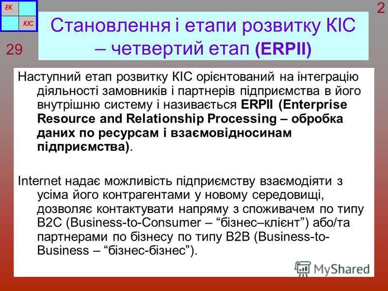 Становлення і етапи розвитку КІС – четвертий етап (ERPII) Наступний етап розвитку КІС орієнтований на інтеграцію діяльності замовників і партнерів підприємства в його внутрішню систему і називається ERPII (Enterprise Resource and Relationship Process
