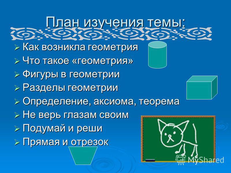 План изучения темы: Как возникла геометрия Как возникла геометрия Что такое «геометрия» Что такое «геометрия» Фигуры в геометрии Фигуры в геометрии Разделы геометрии Разделы геометрии Определение, аксиома, теорема Определение, аксиома, теорема Не вер