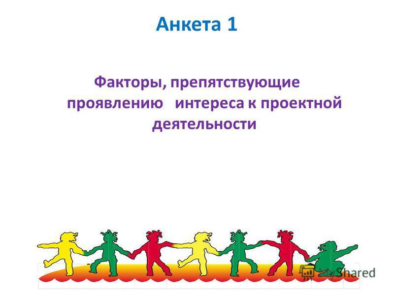 Анкета 1 Факторы, препятствующие проявлению интереса к проектной деятельности