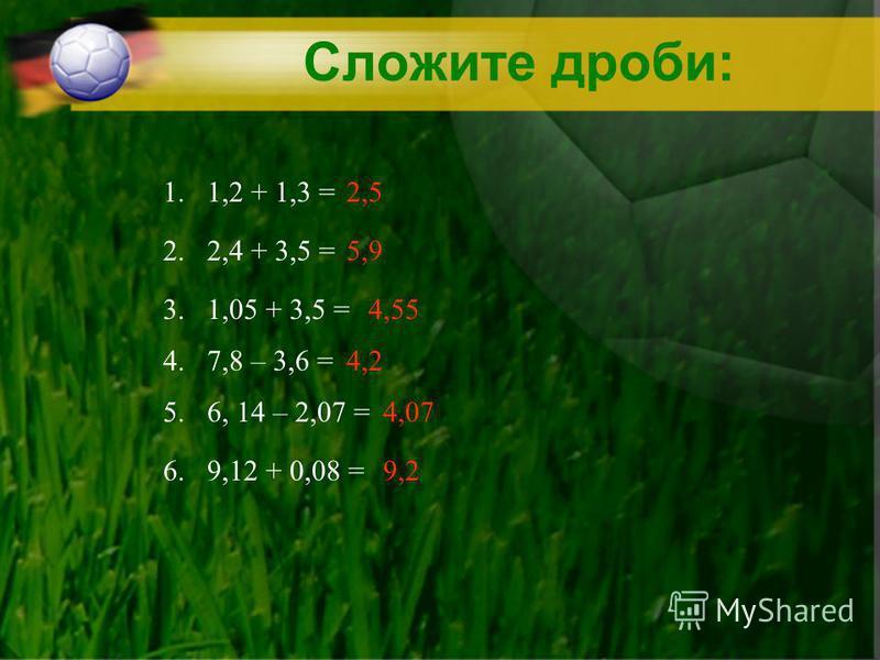 Сложите дроби: 1. 1,2 + 1,3 = 2. 2,4 + 3,5 = 3. 1,05 + 3,5 = 4. 7,8 – 3,6 = 5. 6, 14 – 2,07 = 6. 9,12 + 0,08 =