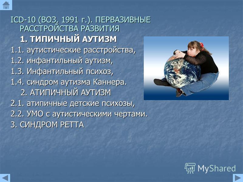 IСD-10 (ВОЗ, 1991 г.). ПЕРВАЗИВНЫЕ РАССТРОЙСТВА РАЗВИТИЯ 1. ТИПИЧНЫЙ АУТИЗМ 1. ТИПИЧНЫЙ АУТИЗМ 1.1. аутистические расстройства, 1.2. инфантильный аутизм, 1.3. Инфантильный психоз, 1.4. синдром аутизма Каннера. 2. АТИПИЧНЫЙ АУТИЗМ 2. АТИПИЧНЫЙ АУТИЗМ