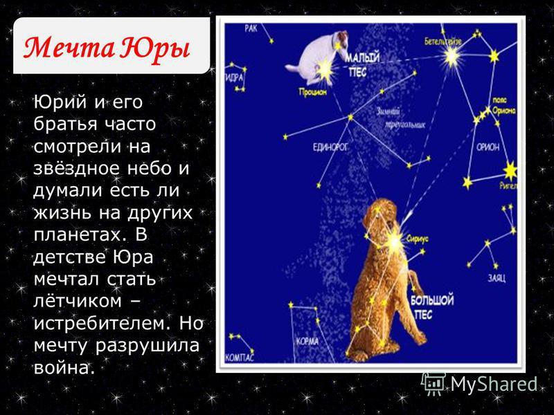 Мечта Юры Юрий и его братья часто смотрели на звёздное небо и думали есть ли жизнь на других планетах. В детстве Юра мечтал стать лётчиком – истребителем. Но мечту разрушила война.