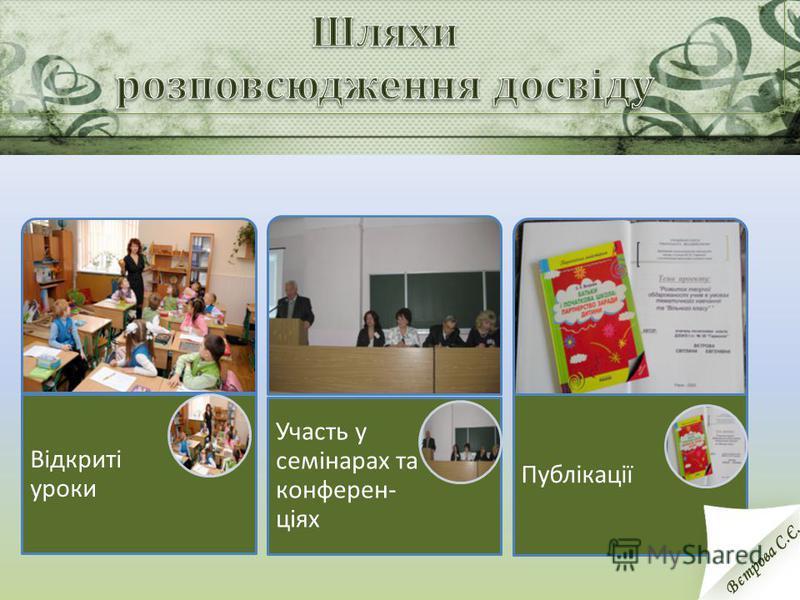 Відкриті уроки Участь у семінарах та конферен- ціях Публікації Вєтрова С.Є.