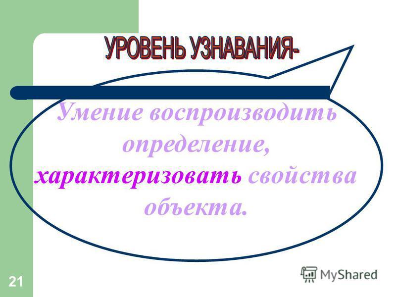 21 Умение воспроизводить определение, характеризовать свойства объекта.
