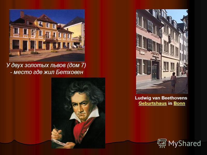 У двух золотых львов (дом 7) - место где жил Ббетховен Ludwig van Beethovens Geburtshaus in Bonn