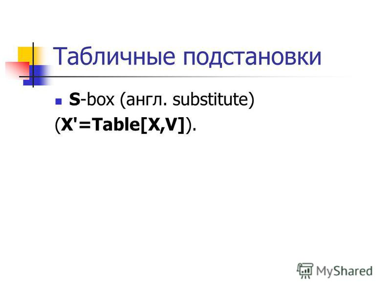 Табличные подстановки S-box (англ. substitute) (X'=Table[X,V]).
