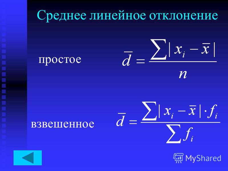 Среднее линейное отклонение простое взвешенное
