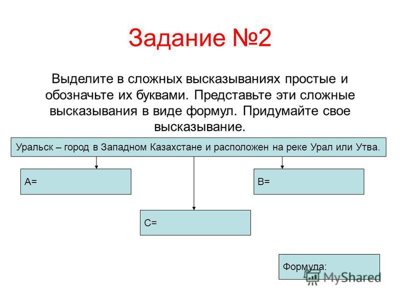 Задание 2 Выделите в сложных высказываниях простые и обозначьте их буквами. Представьте эти сложные высказывания в виде формул. Придумайте свое высказывание. Уральск – город в Западном Казахстане и расположен на реке Урал или Утва. А=В= Формула: С=