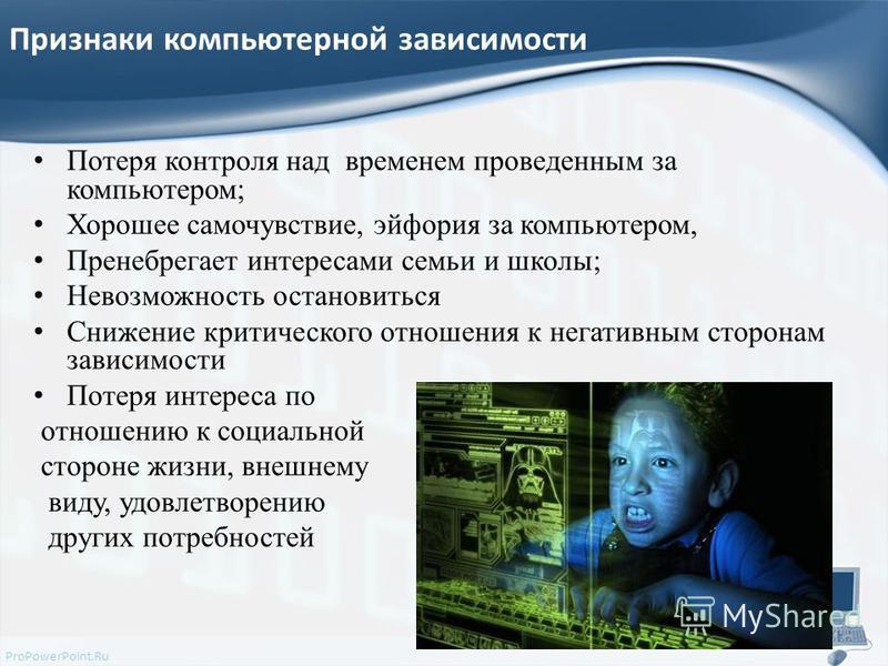 ProPowerPoint.Ru Признаки компьютерной зависимости Потеря контроля над временем проведенным за компьютером; Хорошее самочувствие, эйфория за компьютером, Пренебрегает интересами семьи и школы; Невозможность остановиться Снижение критического отношени