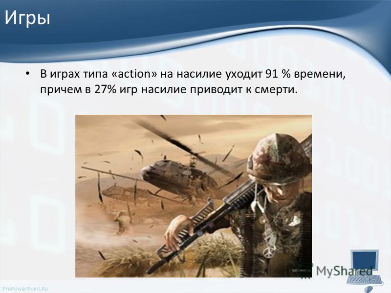 ProPowerPoint.Ru Игры В играх типа «action» на насилие уходит 91 % времени, причем в 27% игр насилие приводит к смерти.