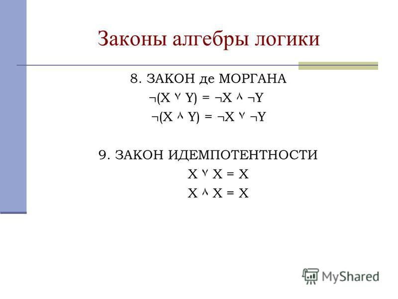Законы алгебры логики 8. ЗАКОН де МОРГАНА ¬(X ۷ Y) = ¬X ٨ ¬Y ¬(X ٨ Y) = ¬X ۷ ¬Y 9. ЗАКОН ИДЕМПОТЕНТНОСТИ X ۷ X = X X ٨ X = X