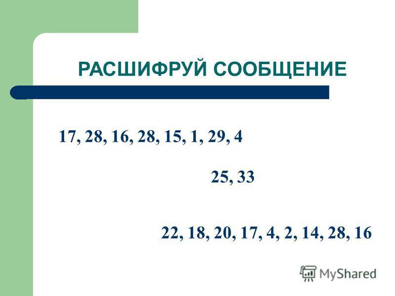 РАСШИФРУЙ СООБЩЕНИЕ 17, 28, 16, 28, 15, 1, 29, 4 25, 33 22, 18, 20, 17, 4, 2, 14, 28, 16