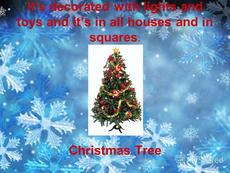 Its decorated with lights and toys and its in all houses and in squares. Christmas Tree