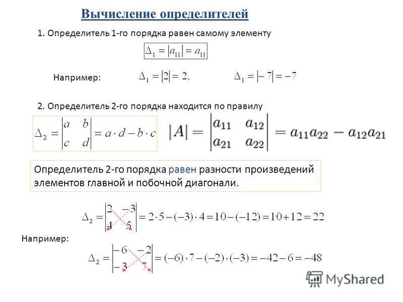 1. Определитель 1-го порядка равен самому элементу Например: 2. Определитель 2-го порядка находится по правилу Определитель 2-го порядка равен разности произведений элементов главной и побочной диагонали. Например: Вычисление определителей