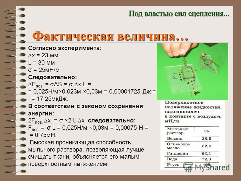 Фактическая величина… Под властью сил сцепления... Согласно эксперимента: x = 23 мм L = 30 мм σ = 25 мН/м Следовательно: Е пов. = σΔS = σ x L = = 0,025Н/м×0,023 м ×0,03 м = 0,00001725 Дж = = 17,25 мк Дж. В соответствии с законом сохранения энергии: 2