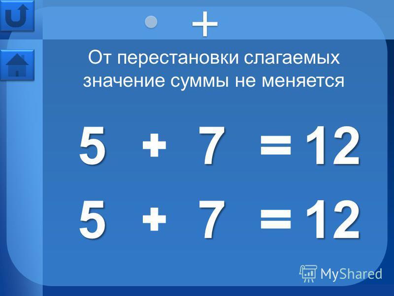 7 12 5 7 5 От перестановки слагаемых значение суммы не меняется 12