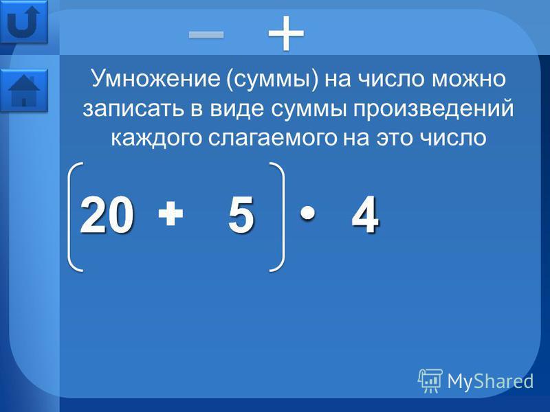 Умножение (суммы) на число можно записать в виде суммы произведений каждого слагаемого на это число 205205444