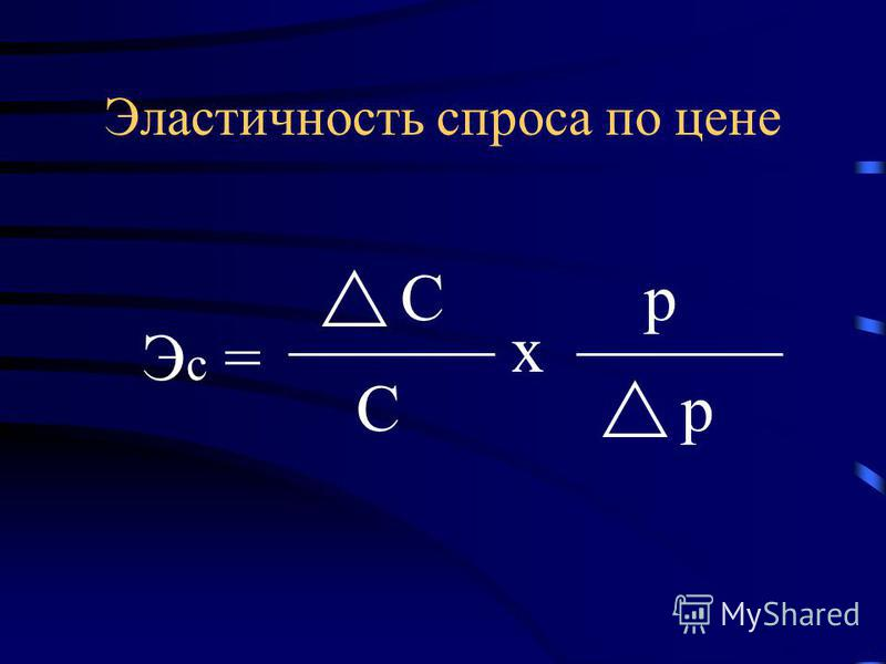 Э с = С С х p p Эластичность спроса по цене