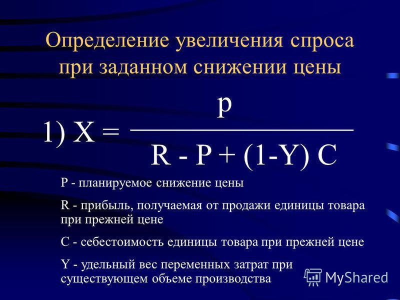 1) Х = R - P + (1-Y) C p Определение увеличения спроса при заданном снижении цены P - планируемое снижение цены R - прибыль, получаемая от продажи единицы товара при прежней цене C - себестоимость единицы товара при прежней цене Y - удельный вес пере