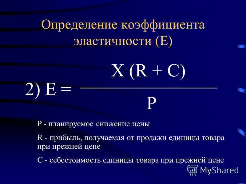 2) Е = P Х (R + C) Определение коэффициента эластичности (Е) P - планируемое снижение цены R - прибыль, получаемая от продажи единицы товара при прежней цене C - себестоимость единицы товара при прежней цене