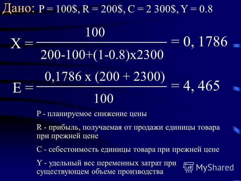 Дано: P = 100$, R = 200$, C = 2 300$, Y = 0.8 Х = 200-100+(1-0.8)х 2300 100 = 0, 1786 Е = 100 0,1786 х (200 + 2300) = 4, 465 P - планируемое снижение цены R - прибыль, получаемая от продажи единицы товара при прежней цене C - себестоимость единицы то