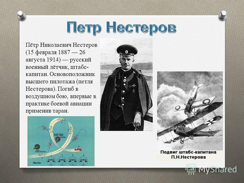 Пётр Николаевич Нестеров (15 февраля 1887 26 августа 1914) русский военный лётчик, штабс- капитан. Основоположник высшего пилотажа (петля Нестерова). Погиб в воздушном бою, впервые в практике боевой авиации применив таран.