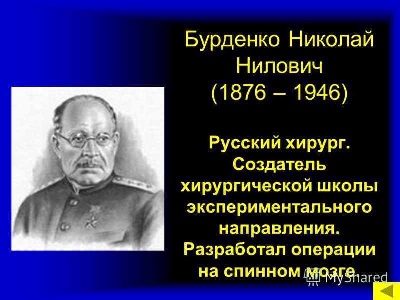 Бурденко Николай Нилович (1876 – 1946) Русский хирург. Создатель хирургической школы экспериментального направления. Разработал операции на спинном мозге.