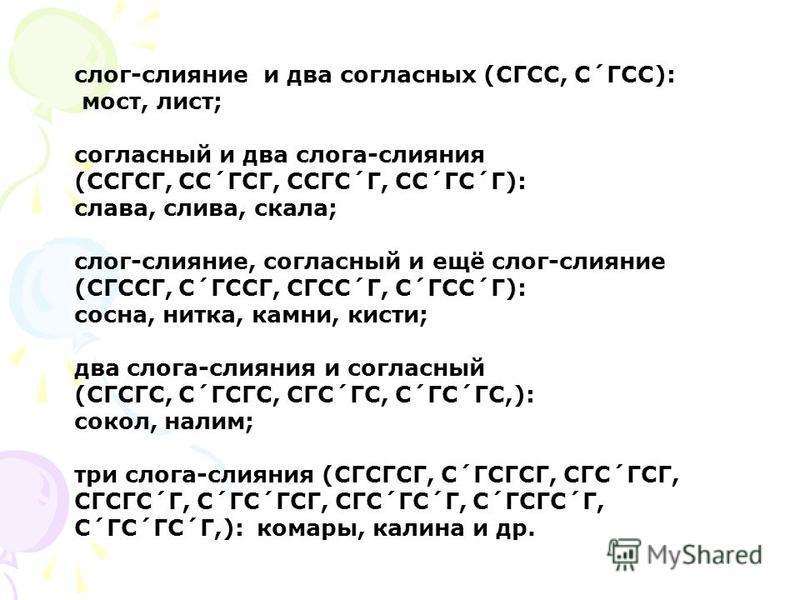 слог-слияние и два согласных (СГСС, С´ГСС): мост, лист; согласный и два слога-слияния (ССГСГ, СС´ГСГ, ССГС´Г, СС´ГС´Г): слава, слива, скала; слог-слияние, согласный и ещё слог-слияние (СГССГ, С´ГССГ, СГСС´Г, С´ГСС´Г): сосна, нитка, камни, кисти; два