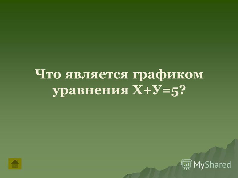Что является графиком уравнения Х+У=5?