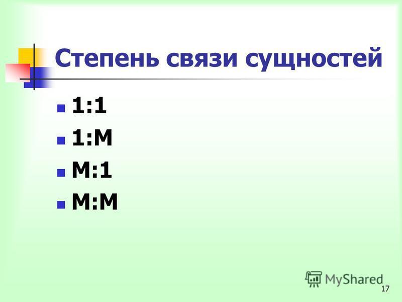 17 Степень связи сущностей 1:1 1:М М:1 М:М