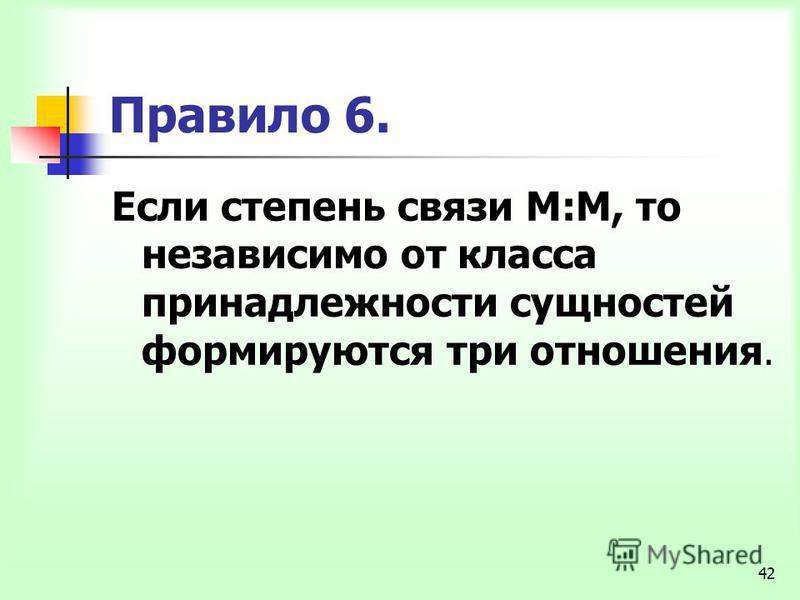42 Правило 6. Если степень связи М:М, то независимо от класса принадлежности сущностей формируются три отношения.