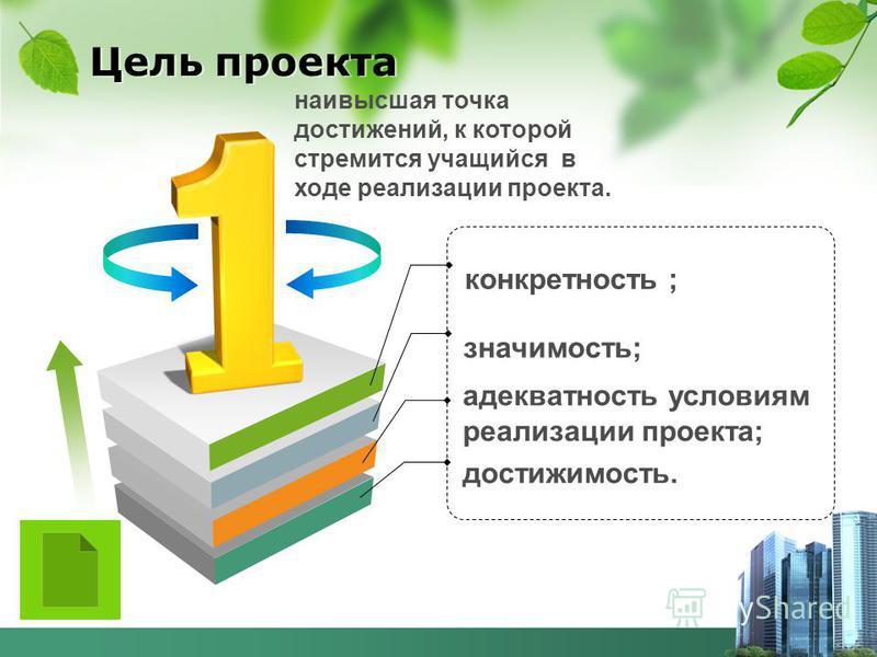 Цель проекта конкретность ; значимость; достижимость. адекватность условиям реализации проекта; наивысшая точка достижений, к которой стремится учащийся в ходе реализации проекта.