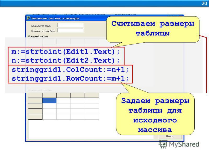 20 m:=strtoint(Edit1.Text); n:=strtoint(Edit2.Text); stringgrid1.ColCount:=n+1; stringgrid1.RowCount:=m+1; Считываем размеры таблицы Задаем размеры таблицы для исходного массива