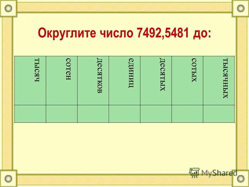 Округлите число 7492,5481 до: тысячсотендесятковединицдесятыхсотыхтысячных