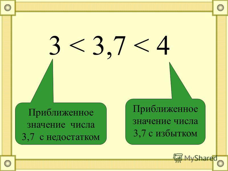 Приближенное значение числа 3,7 с недостатком Приближенное значение числа 3,7 с избытком