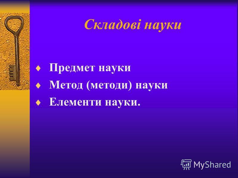 Складові науки Предмет науки Метод (методи) науки Елементи науки.