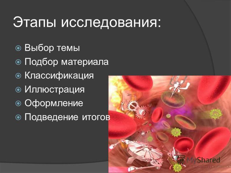Этапы исследования: Выбор темы Подбор материала Классификация Иллюстрация Оформление Подведение итогов