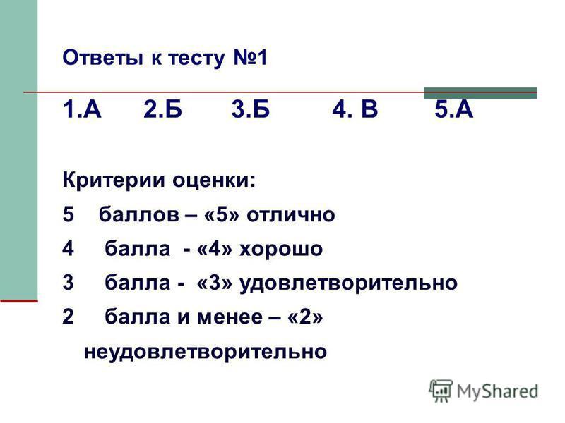 Ответы к тесту 1 1. А 2. Б 3. Б 4. В 5. А Критерии оценки: 5 баллов – «5» отлично 4 балла - «4» хорошо 3 балла - «3» удовлетворительно 2 балла и менее – «2» неудовлетворительно