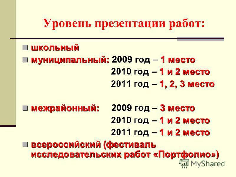 Уровень презентации работ: школьный школьный муниципальный: 2009 год – 1 место муниципальный: 2009 год – 1 место 2010 год – 1 и 2 место 2010 год – 1 и 2 место 2011 год – 1, 2, 3 место 2011 год – 1, 2, 3 место межрайонный: 2009 год – 3 место межрайонн