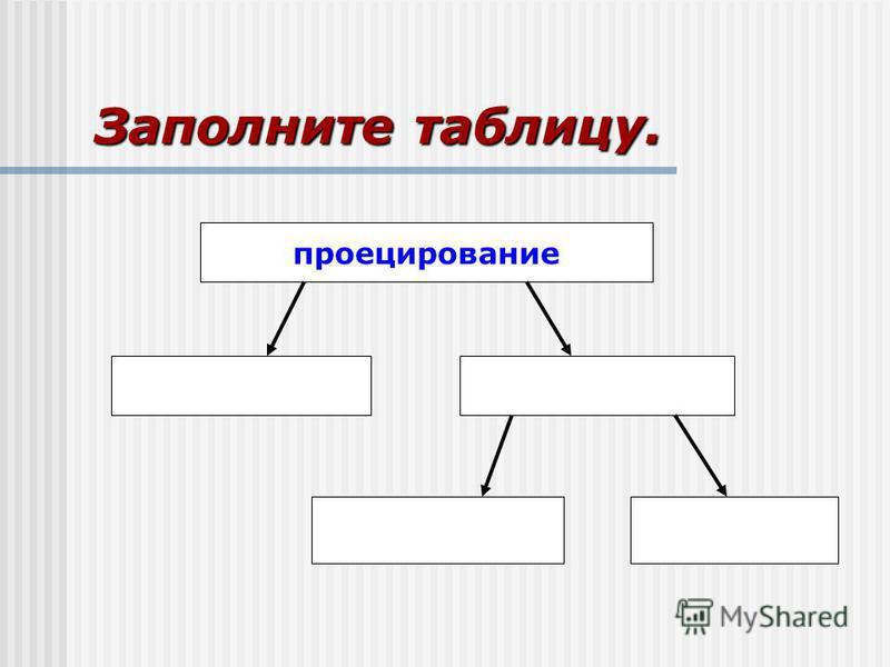 Заполните таблицу. проецирование