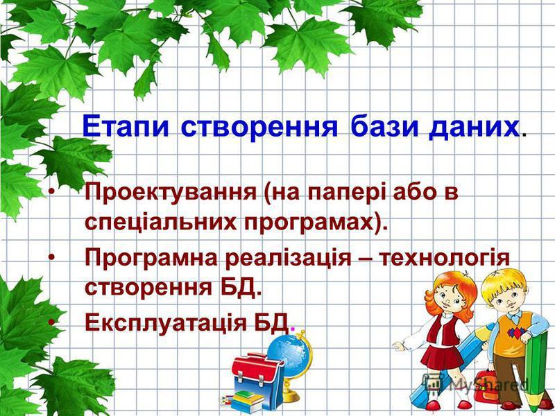 Етапи створення бази даних. Проектування (на папері або в спеціальних програмах). Програмна реалізація – технологія створення БД. Експлуатація БД.