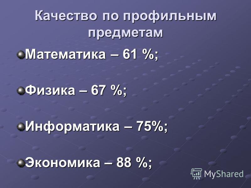 Качество по профильным предметам Математика – 61 %; Физика – 67 %; Информатика – 75%; Экономика – 88 %;
