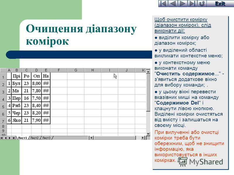 Exit Очищення діапазону комірок Щоб очистити комірку (діапазон комірок), слід виконати дії: виділити комірку або діапазон комірок; у виділений області викликати контекстне меню; у контекстному меню виконати команду