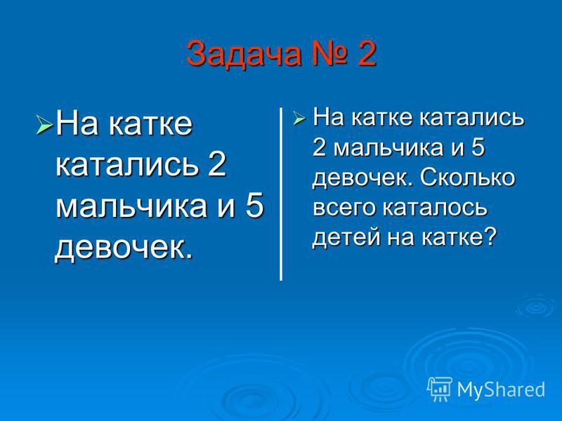 Задача 1 Условие: На горке 8 ребят. 2 ребят скатились вниз. Сколько ребят осталось на горке? Решение: 8 – 2 = 6 (ребят) Ответ: 6 ребят осталось на горке.