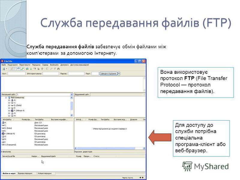 Служба передавання файлів (FTP) Служба передавання файлів забезпечує обмін файлами між комп ' ютерами за допомогою Інтернету. Для доступу до служби потрібна спеціальна програма-клієнт або веб-браузер. Вона використовує протокол FTP (File Transfer Pro