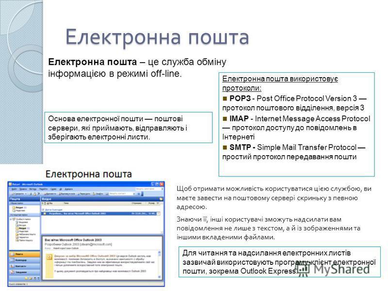 Електронна пошта Щоб отримати можливість користуватися цією службою, ви маєте завести на поштовому сервері скриньку з певною адресою. Знаючи її, інші користувачі зможуть надсилати вам повідомлення не лише з текстом, а й із зображеннями та іншими вкла