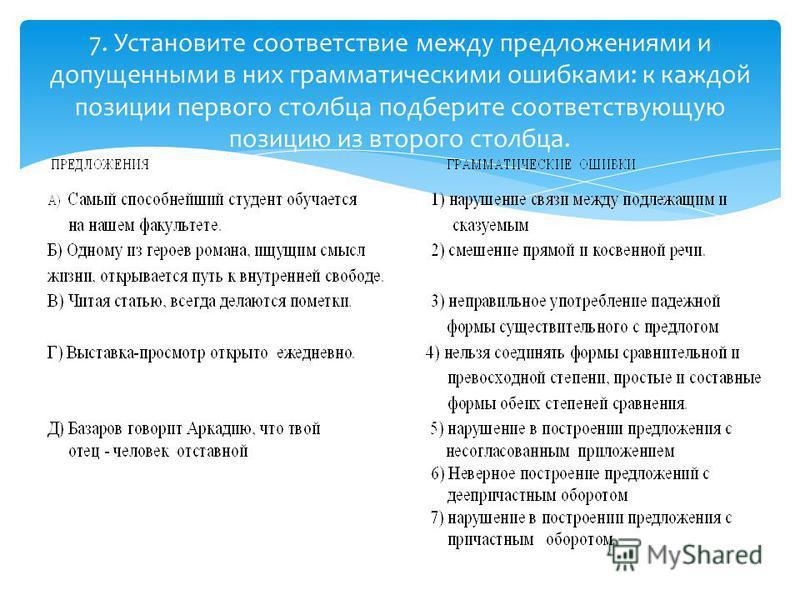 7. Установите соответствие между предложениями и допущенними в них грамматическими ошибками: к каждой позиции первого столбца подберите соответствующую позицию из второго столбца.