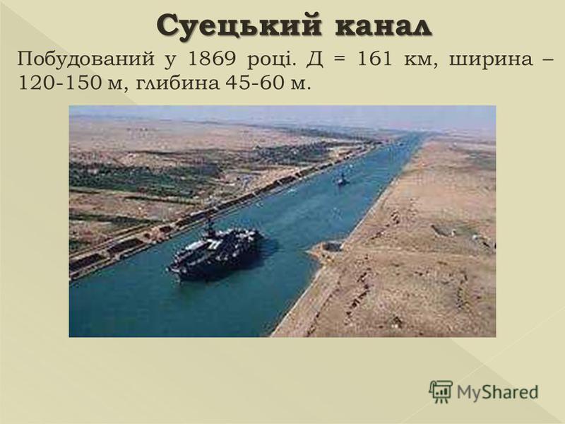 Суецький канал Побудований у 1869 році. Д = 161 км, ширина – 120-150 м, глибина 45-60 м.